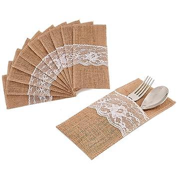 QILICZ - Bolsa de arpillera de encaje para cubertería de boda, 20 piezas, paquete
