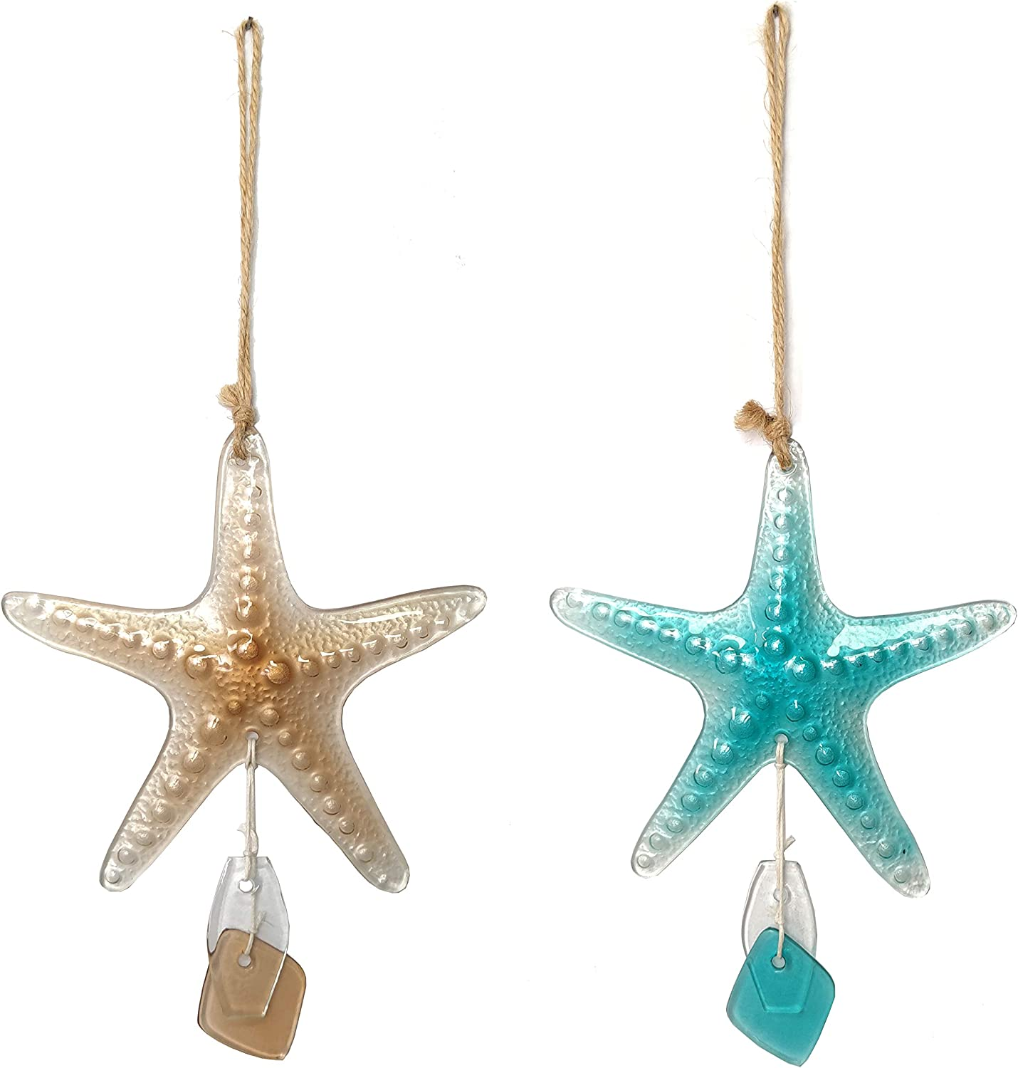 JOYBee Sea Glass Starfish Hanging Ornaments-Wall Art Decor-Christmas Tree Décor,Set of 2, Sea Life Nautical Home Decor, Recycled Wall Art 12Inch5.8Inche, Haitian, Decorative,
