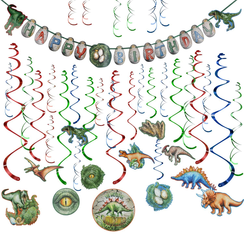 Howaf Decoración de Cumpleaños Dinosaurios Happy Birthday ...