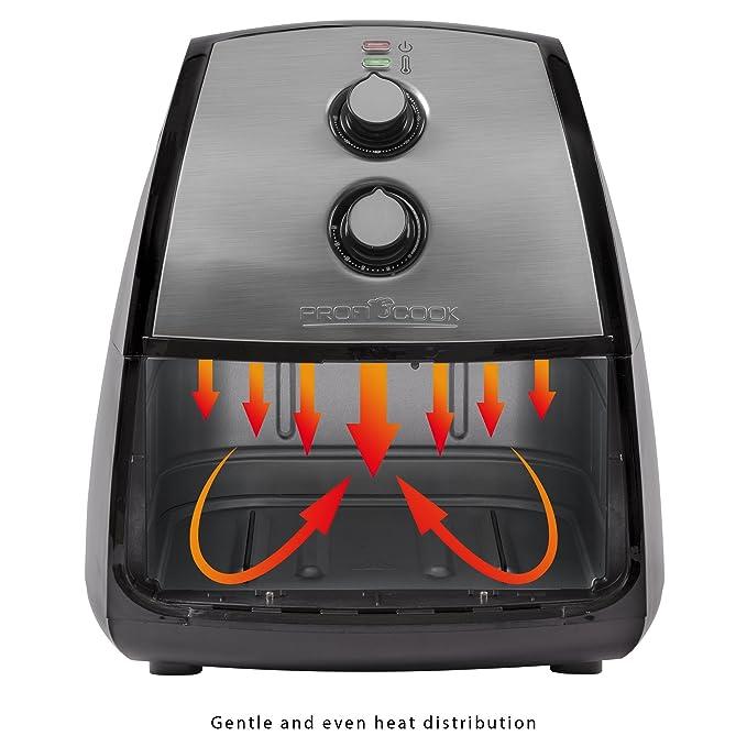 ProfiCook FR 1115 H Freidora sin Aceite por Aire Caliente, 1500 W, 3.5 litros, Acero Inoxidable, Gris y negro: Proficook: Amazon.es: Hogar