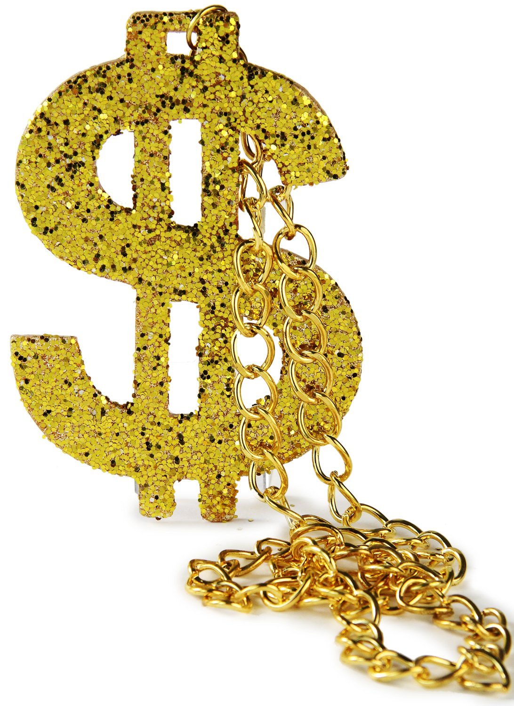 Fette goldkette  XXL Fasching Pimp Dollarzeichen Proll Halskette Gold Rapper ...