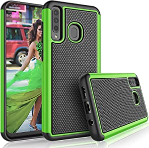 Galaxy A20 Case, Galaxy A30 Cute Case, Tekcoo [Tmajor] Shock Absorbing [Green] Rubber Silicone & Plastic Scratch Resistant Bumper Grip Sturdy Hard Phone Cases Cover for Samsung Galaxy A20/A30