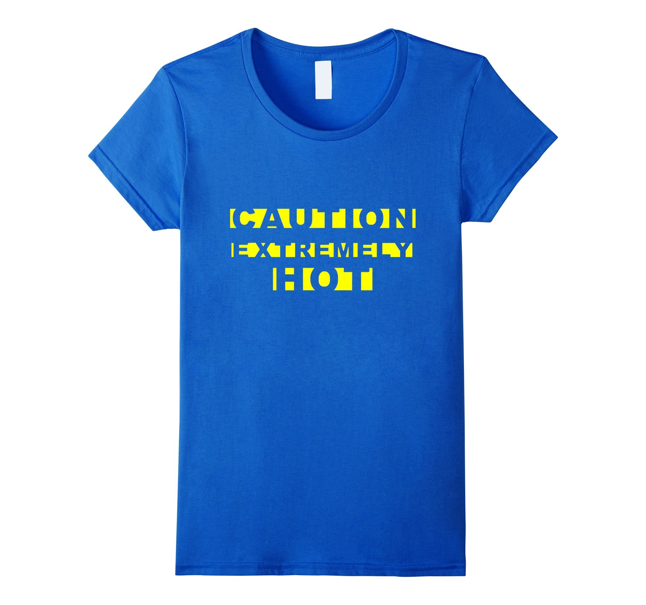 Womens CAUTION EXTREMELY HOT Funny Crime Scene Tape Yellow Text Tee XL Royal Blue by [MRKprints]