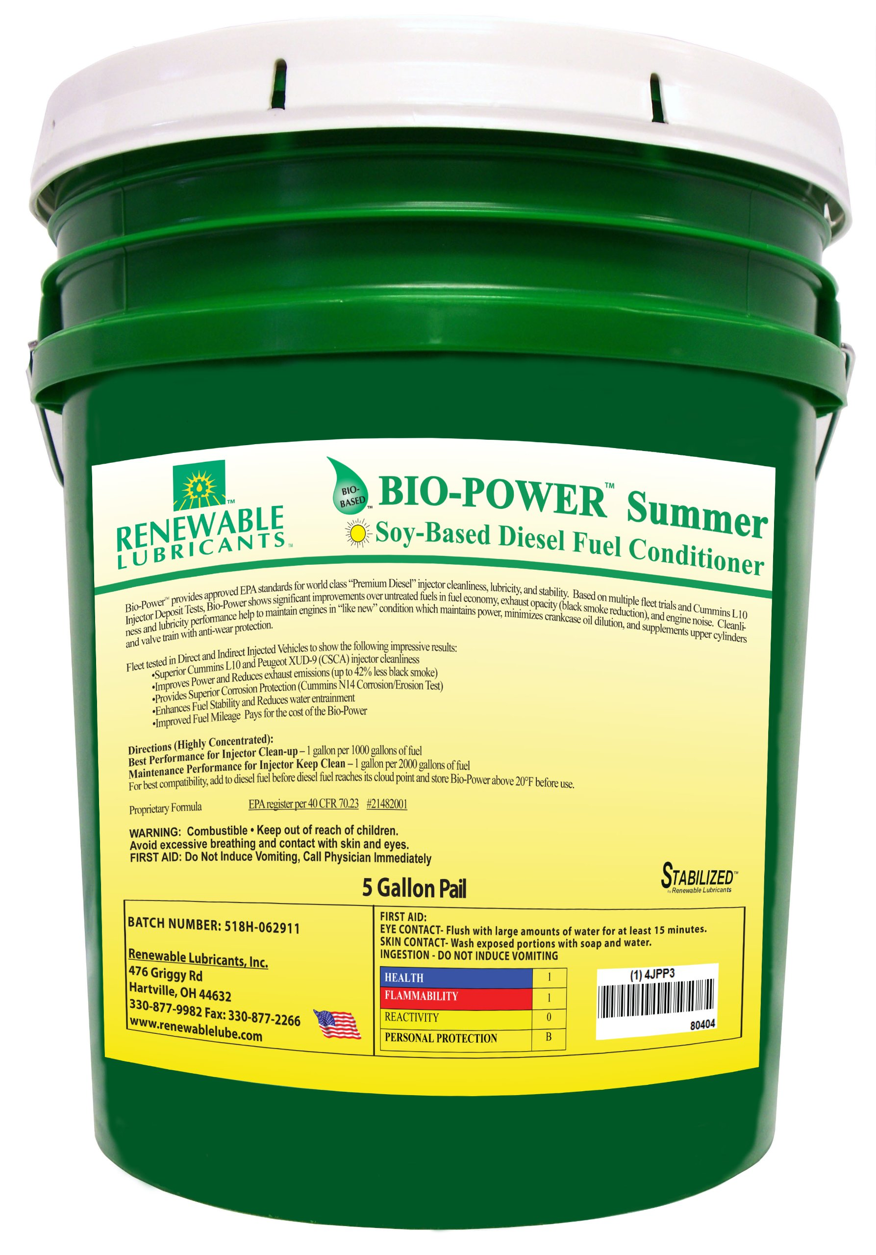 Renewable Lubricants Bio-Power Summer Diesel Fuel Conditioner, 5 Gallon Pail by Renewable Lubricants