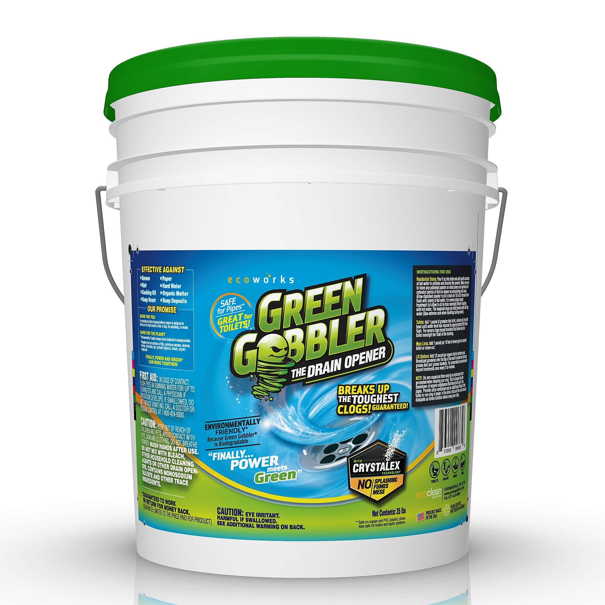 Best Eco Friendly Drain Line Cleaner For Main Drain Lines Sink and Floor Pipes Sewers Urinals and Toilets For use in Residential or Commercial Drains by Green Gobbler