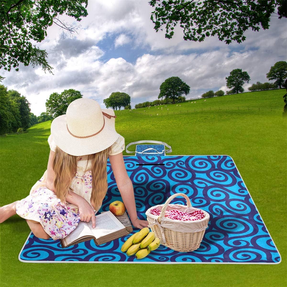 GEEVOSUN Coperta da Picnic Tappetino Campeggio,Doodles variopinti delle Onde astratte del Cuore dell'illustrazione,Giardino Spiaggia Impermeabile Anti Sabbia 1