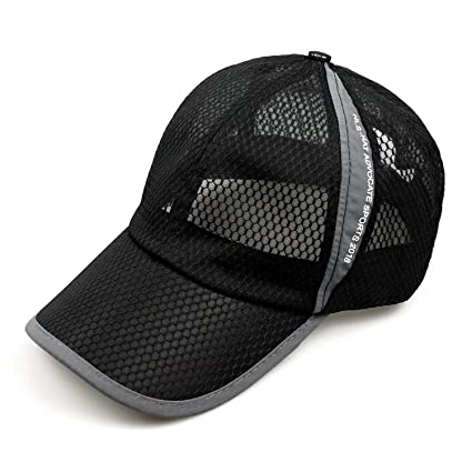 bf52257a6ae FADA Unisex Mesh Brim Tennis Cap Outside Sunscreen Quick Dry Adjustable  Baseball Hat Black