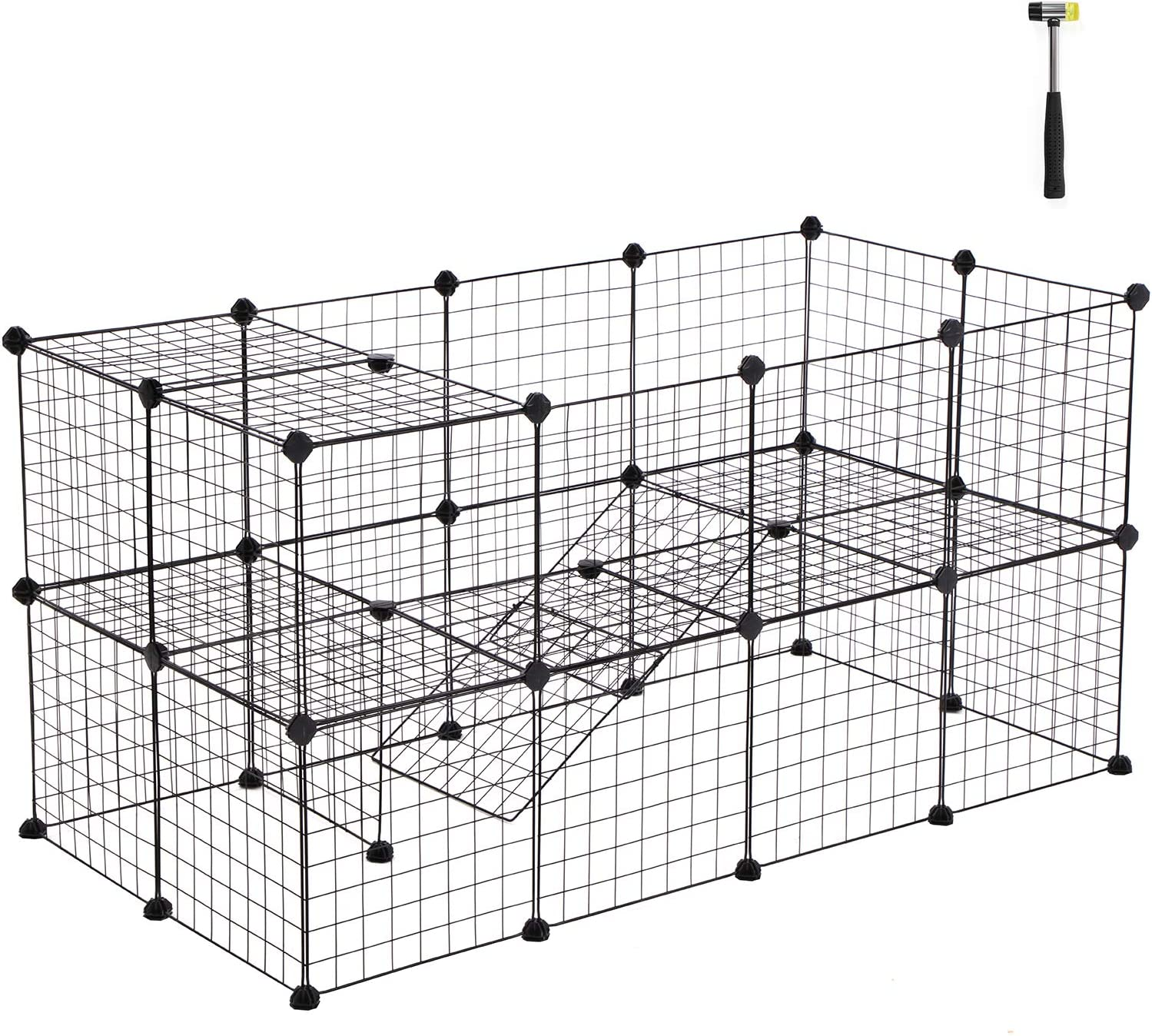 SONGMICS Pet Playpen Includes Cable Ties, Metal Wire Apartment-Style Two-Storey Bunny Fence and Kennel, Comfortable Pet Premium Villa for Guinea Pigs, Bunnies, Rabbits,Puppies,Indoor Upgrade ULPI02H