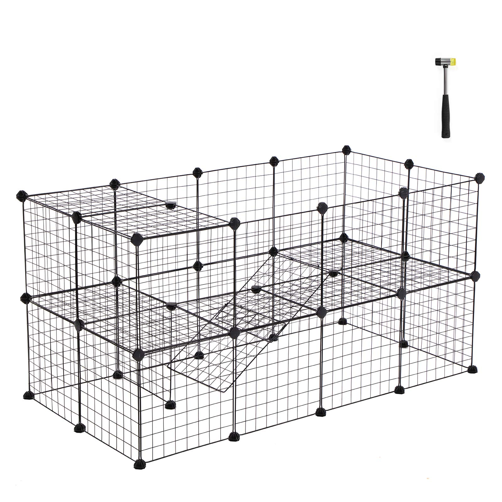 SONGMICS Pet Playpen Includes Cable Ties, Metal Wire Apartment-Style Two-Storey Bunny Fence and Kennel, Comfortable Pet Premium Villa for Guinea Pigs, Bunnies, Rabbits,Puppies,Indoor Upgrade ULPI02H by SONGMICS