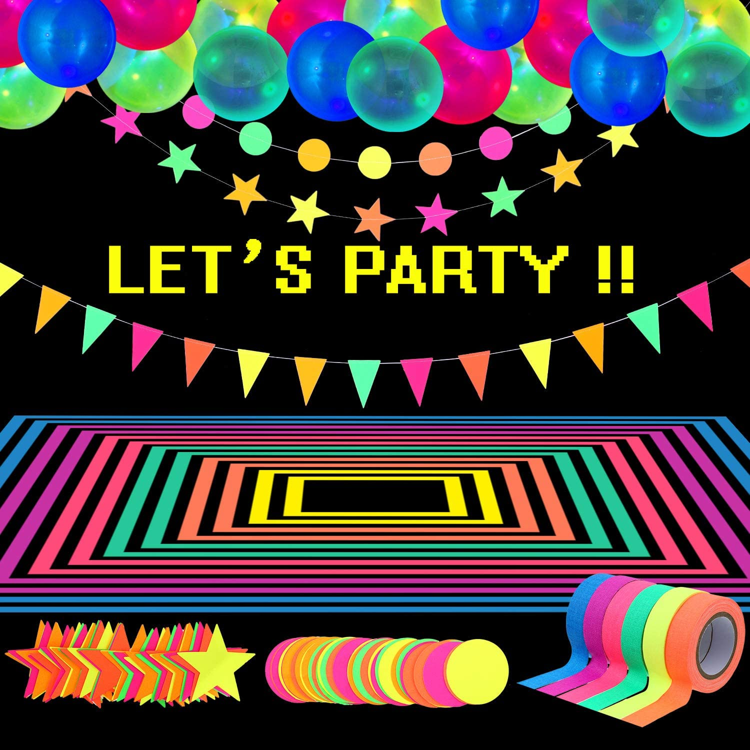Glow Party Supplies Neon Party Supplies Set, Includes 98.4 Feet 6 Rolls UV Blacklight Reactive Tape Luminous Tape, 43.2 Feet 3 Pieces Neon Paper Garlands, 25 Pieces Neon Fluorescent Balloons