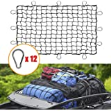3' x 4' Bungee Cargo Net Stretches to 6' x 8' with 12 Bonus D Clip Carabiners for Oversized Rooftop Cargo Rack, Trailer…