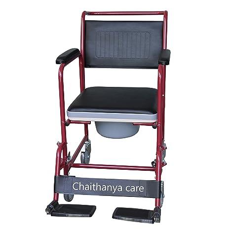 buy fc steel commode wheel chair detachable armrest footrest