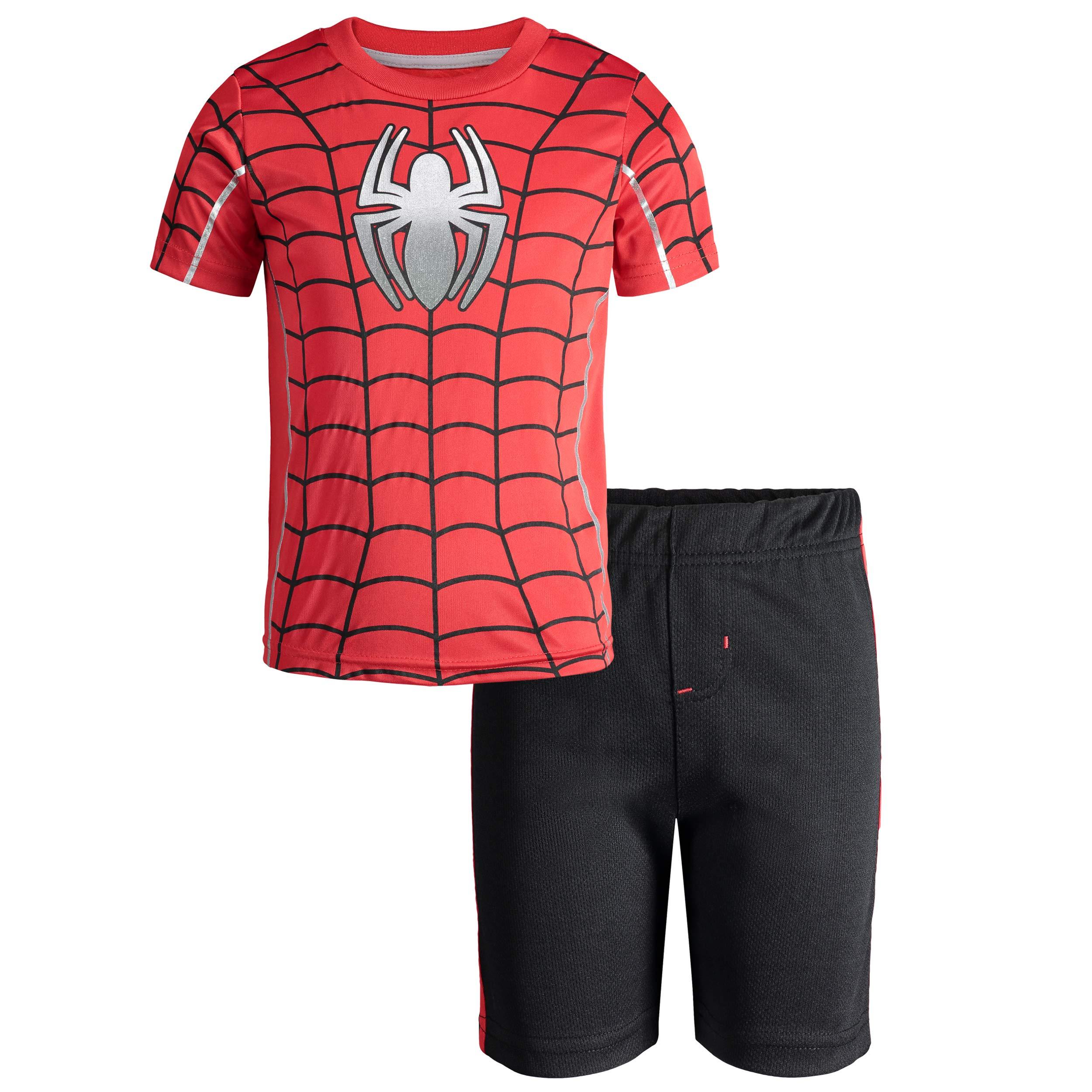 Marvel Avengers Spiderman Toddler Boys' Athletic T-Shirt & Mesh Shorts Set, Red (4T)