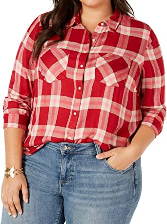 Lucky Brand Camisa a Cuadros con Botones de tamaño Grande para Mujer - Rojo - 3X: Amazon.es: Ropa y accesorios
