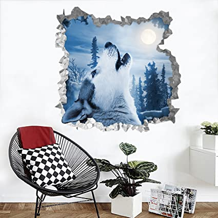 3d forest animal moon 14 wall murals wall stickers decal breakthrough aj wallpaper self