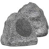 Theater Solutions 2R8G 8-Inch Woofers Outdoor Garden Waterproof Granite Rock Patio Speaker Pair (Granite Grey)