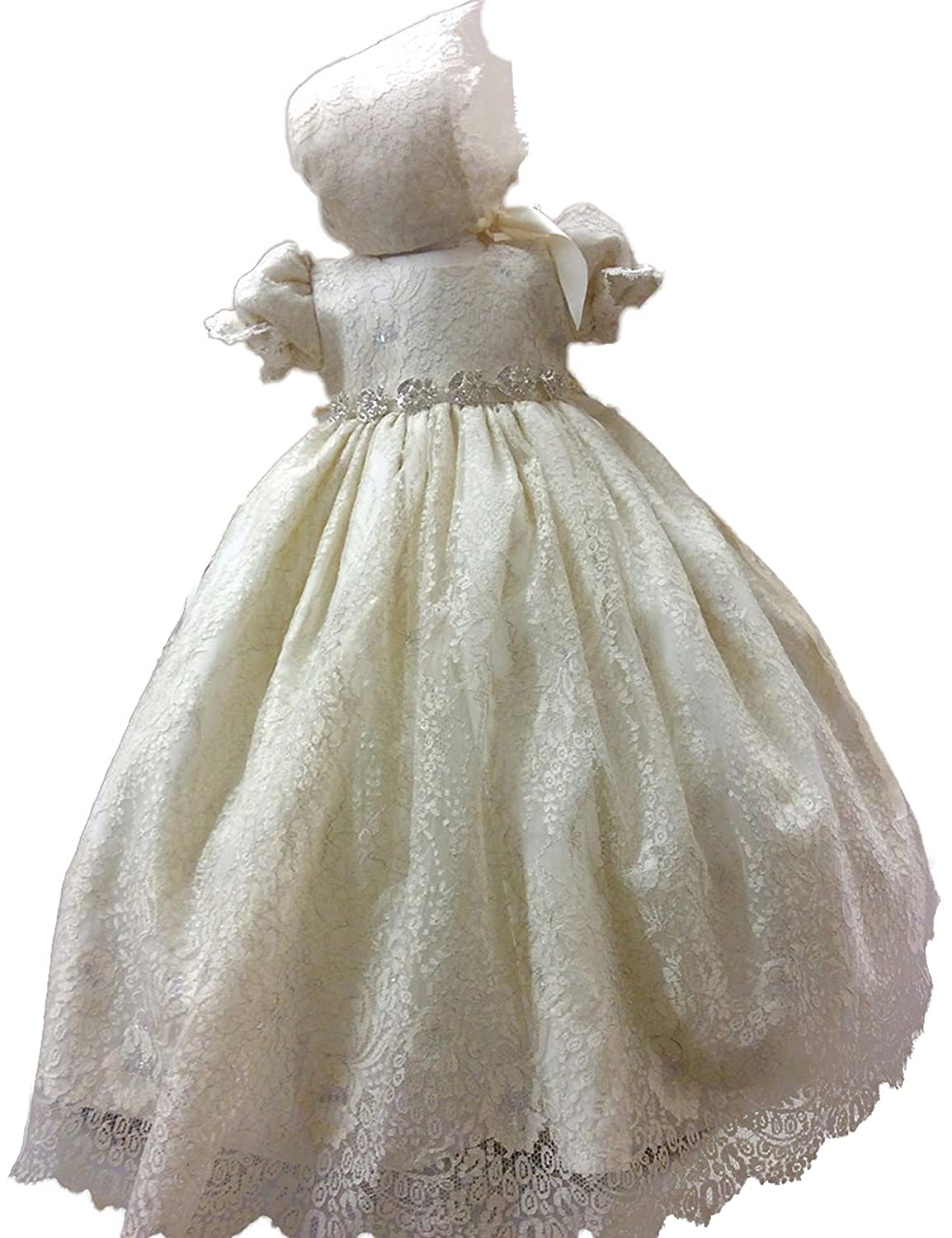 Aorme Lovely Lace Christening Gowns Dresses With Hat Short Sleeves