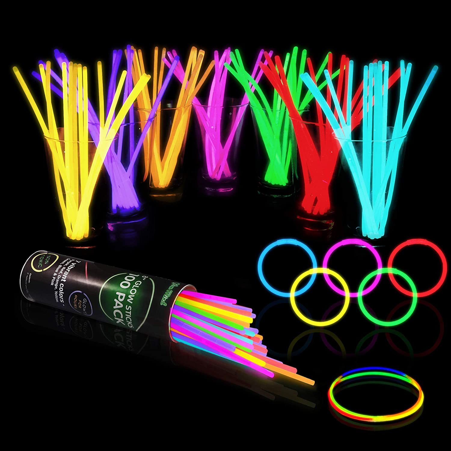 100 Glow Sticks Bulk Party Supplies - Glow in The Dark Fun Party Pack with 8