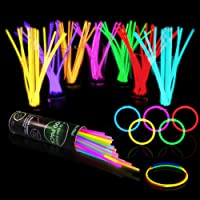 """100 Glow Sticks Bulk Party Supplies - Halloween Glow in The Dark Fun Party Pack with 8"""" Glowsticks and Connectors for…"""