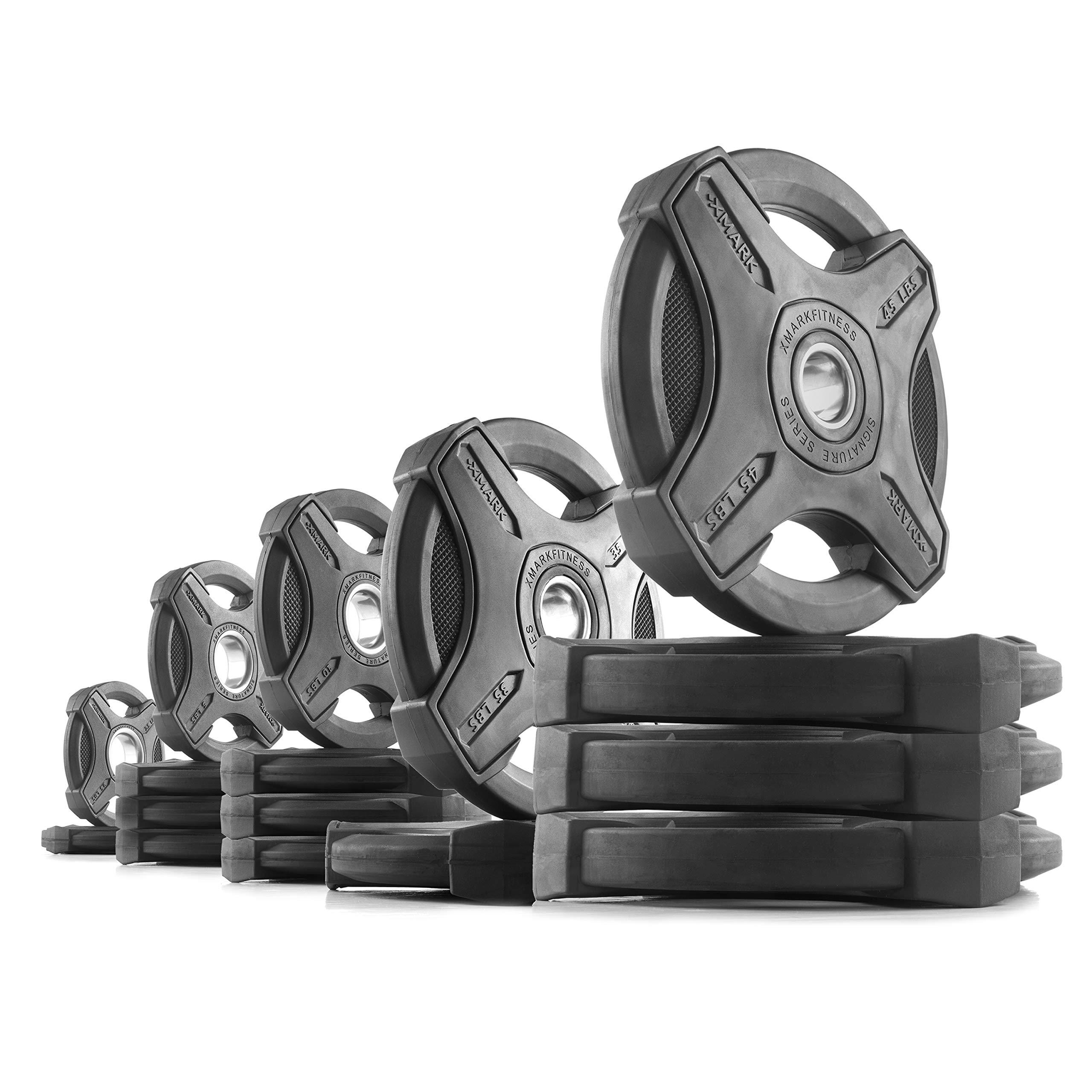 XMark 315 lb Set Signature Plates, One-Year Warranty, Olympic Weight Plates, Cutting-Edge Design