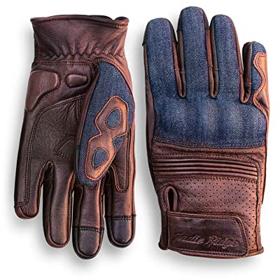 Denim & Leather Motorcycle Gloves (Brown) With Mobile Touchscreen by Indie Ridge (Medium): Automotive