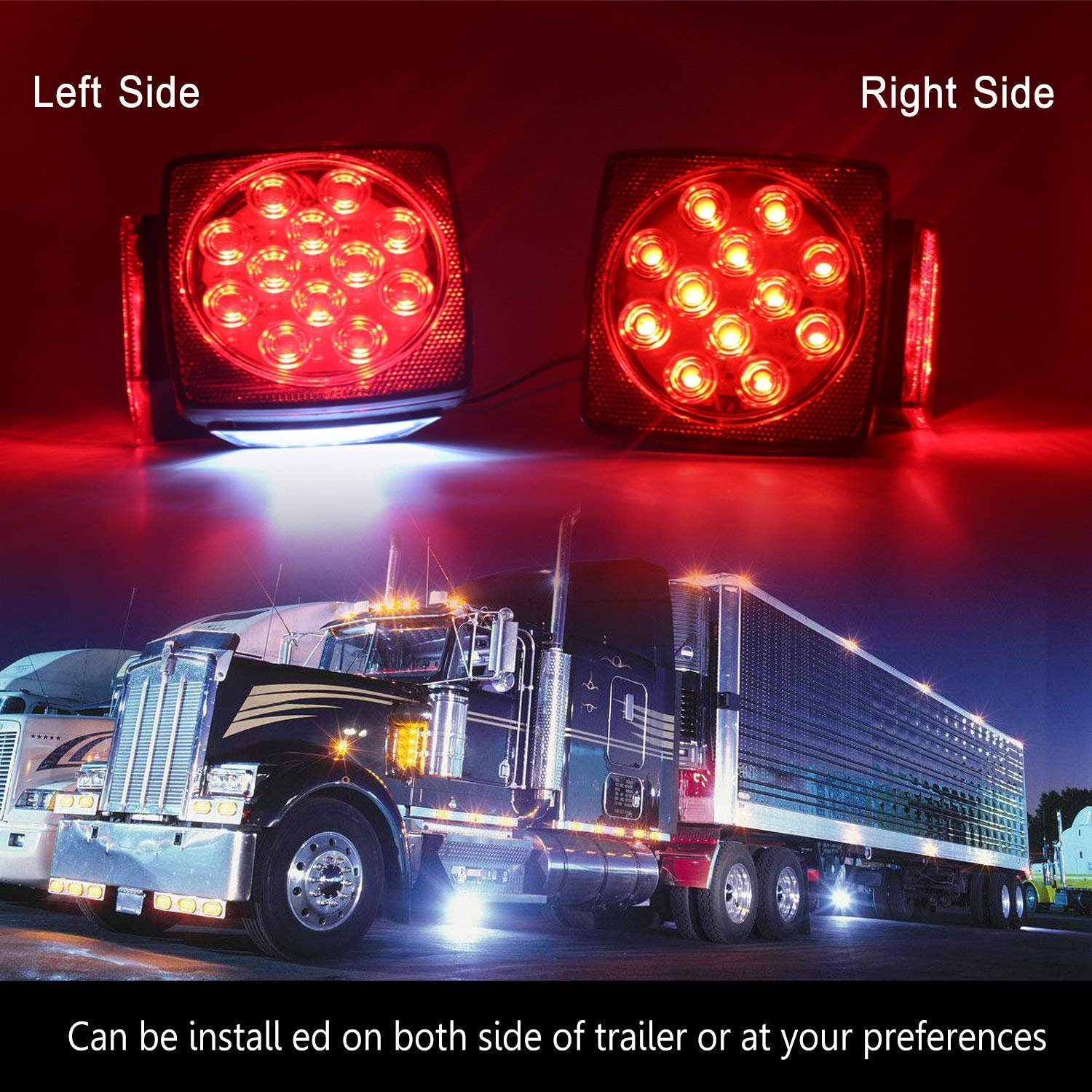 12v Led Trailer Light Kit Lontime Submersible Tail Lights Red Wiring To Vehicle White Waterproof Boat