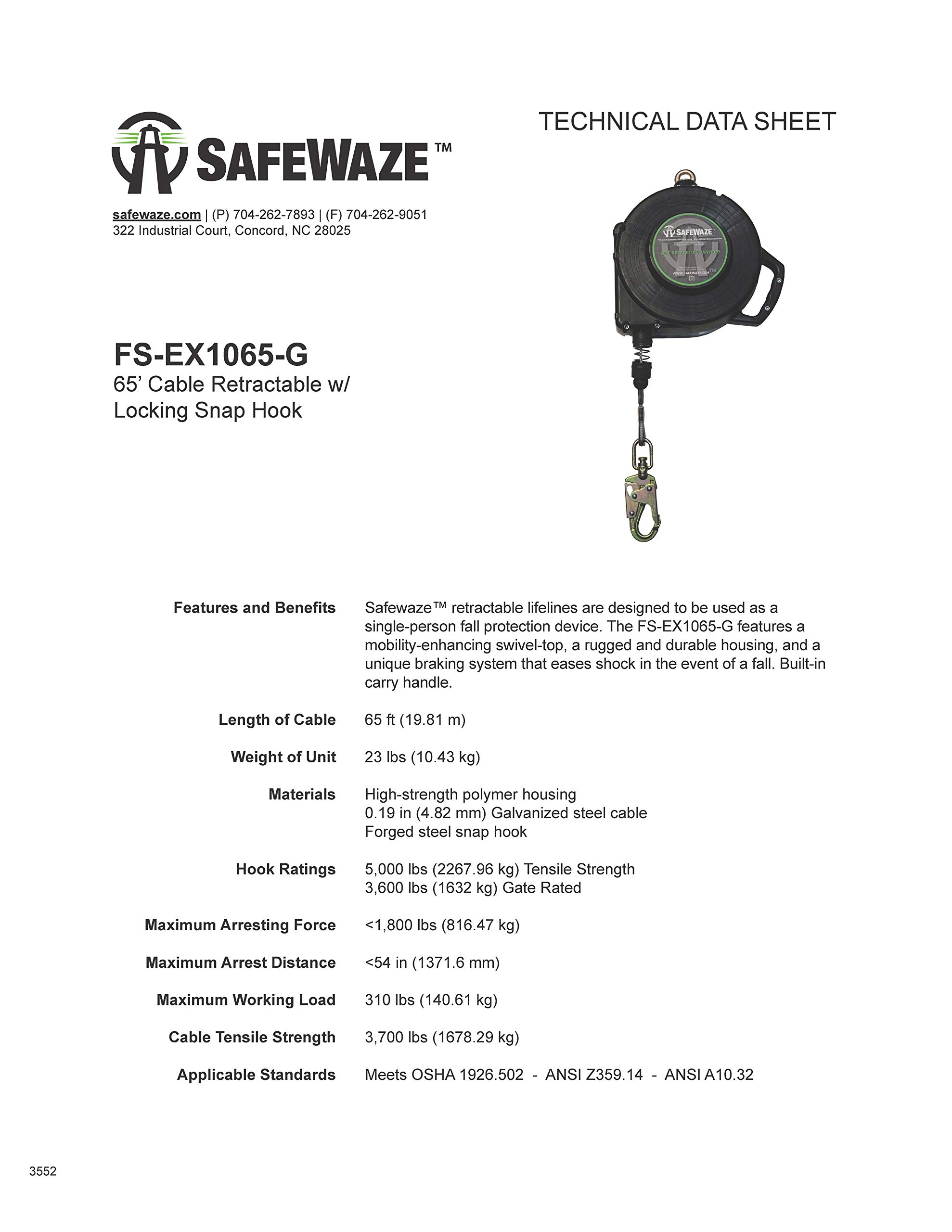 SafeWaze 65' Cable Retractable Lifeline with Locking Snap Hook, Single Person Fall Protection Device, OSHA/ANSI Compliant (FS-EX1065-G) by SafeWaze (Image #3)
