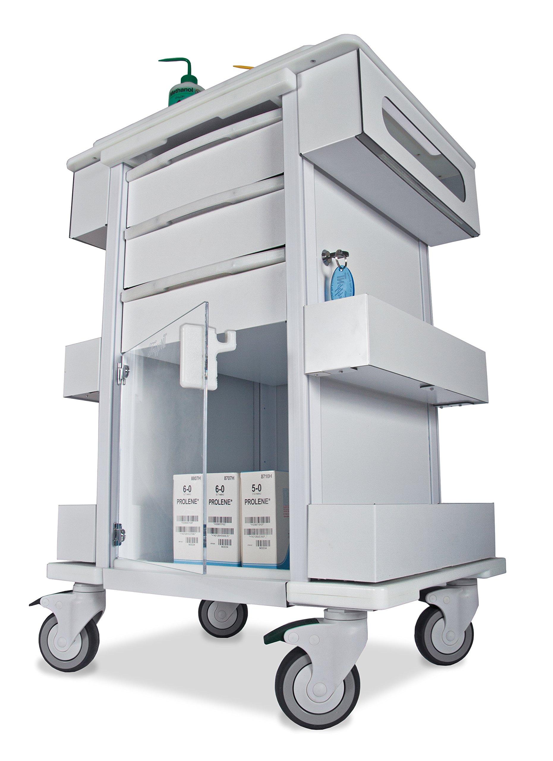 TrippNT 51463 Polyethylene/Aluminum Element 01 All Purpose Healthcare Cart, 24'' W x 35'' H x 19'' D, White by TrippNT