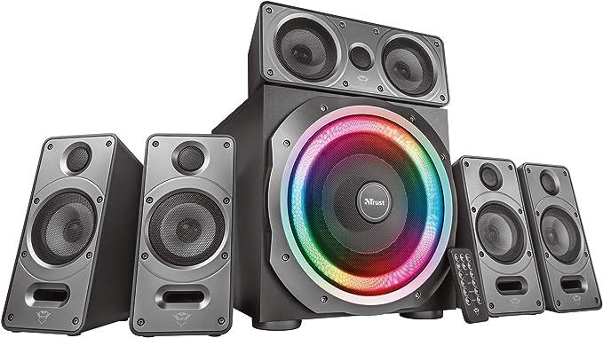 Trust GXT 698 Torro - Juego de altavoces 5.1 con iluminación RGB, dolby digital, para PC, PS4 y Xbox One, 180W, color negro