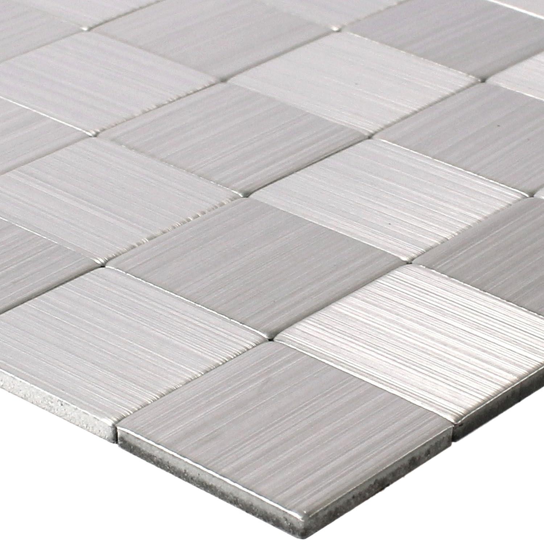 Metall Mikros Fliesen Silber Selbstklebend Quadrat 25
