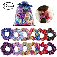Shiny Metallic Scrunchies, YI-GOG Women Girls Shiny Metallic Large Hair Scrunchie Mermaid Hair Bow Elastics Ponytail Holder(12 Pieces)