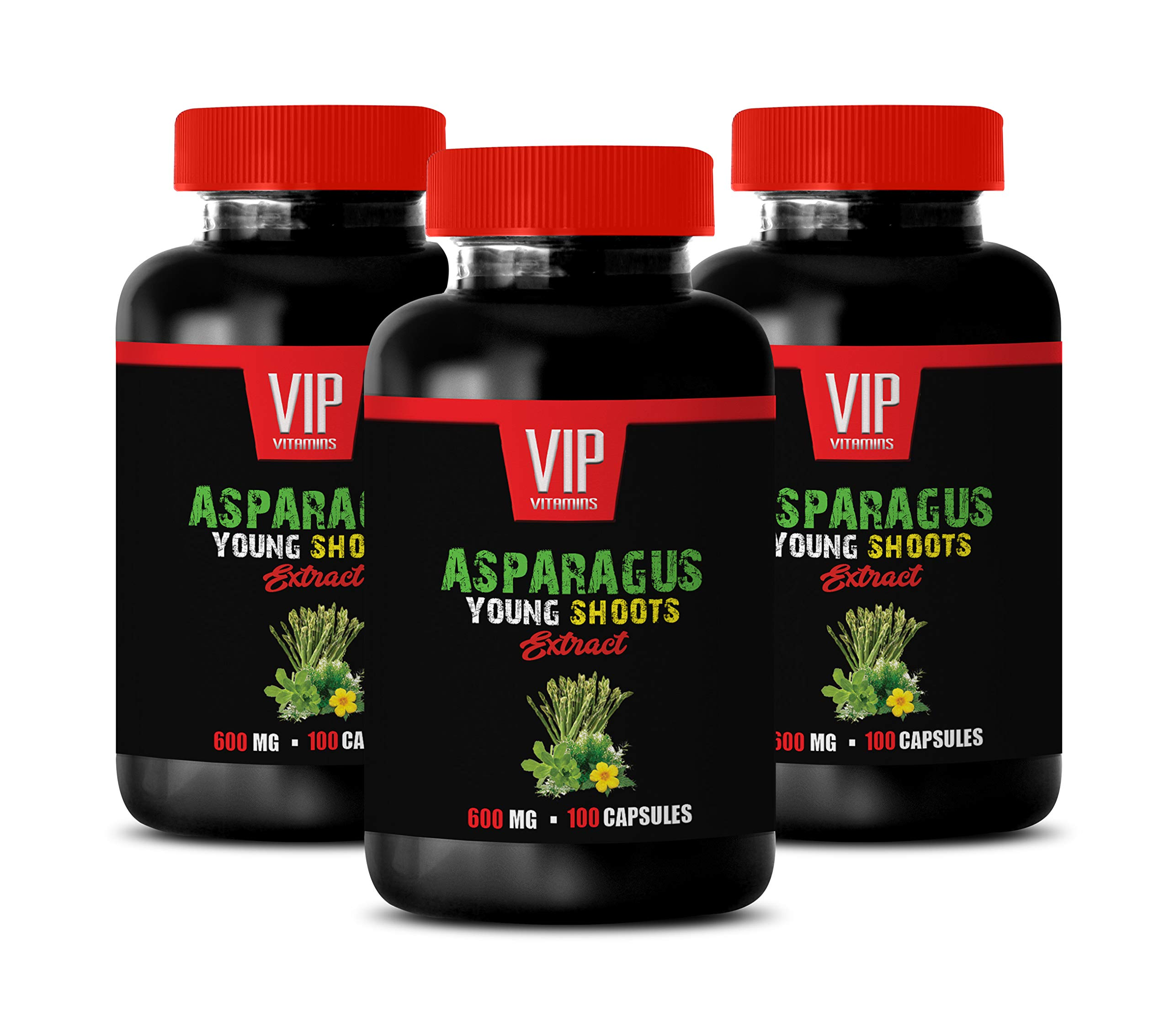 Brain and Memory Boost Pills - Asparagus Young Shoots Extract 600 MG - Natural Digestive wellnes - 3 Bottles 300 Capsules