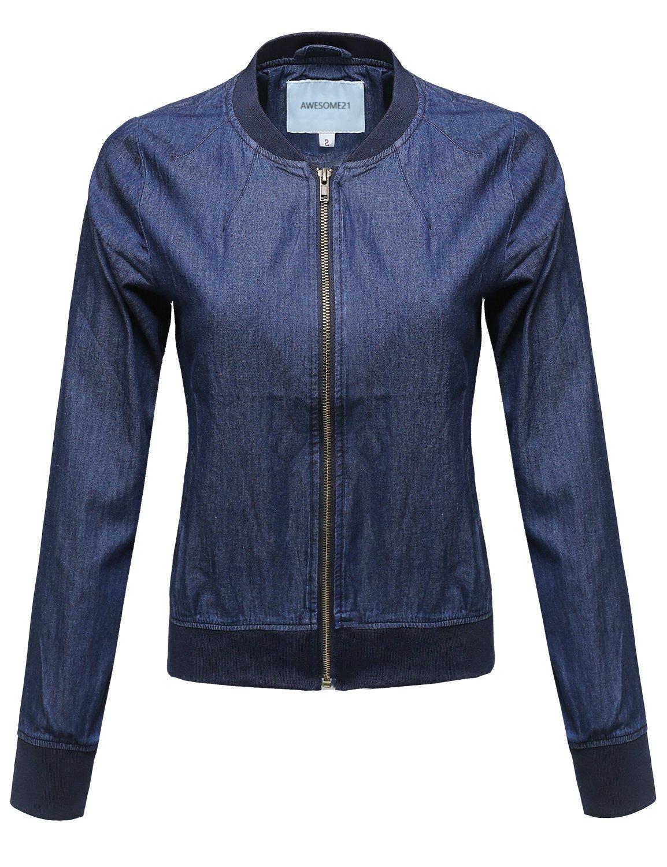 awesome21レディースクラシックBomber Jacket withさまざまな色 B01MTNLM1G M|Awoja0471 Denim Blue Awoja0471 Denim Blue M