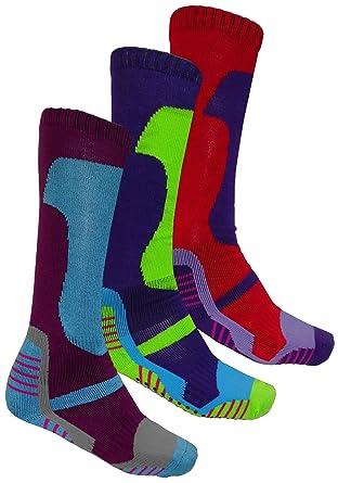 cb3219a86 3 x Pairs Winter Soft Thermal Padded Long Ski Socks Hiking Walking Cycling  6-11: Amazon.co.uk: Clothing