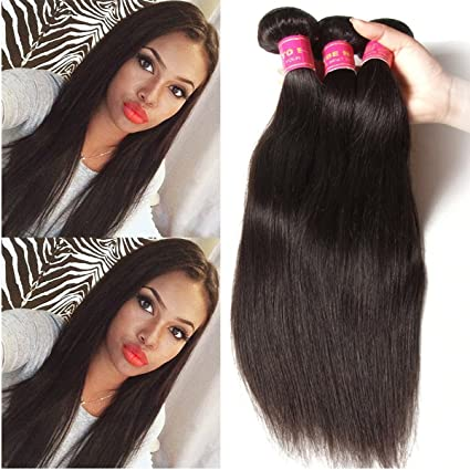 ALI JULIA Hair 3 Bundles 7A Brazilian Virgin Straight Hair Weft 100% Unprocessed Human Hair