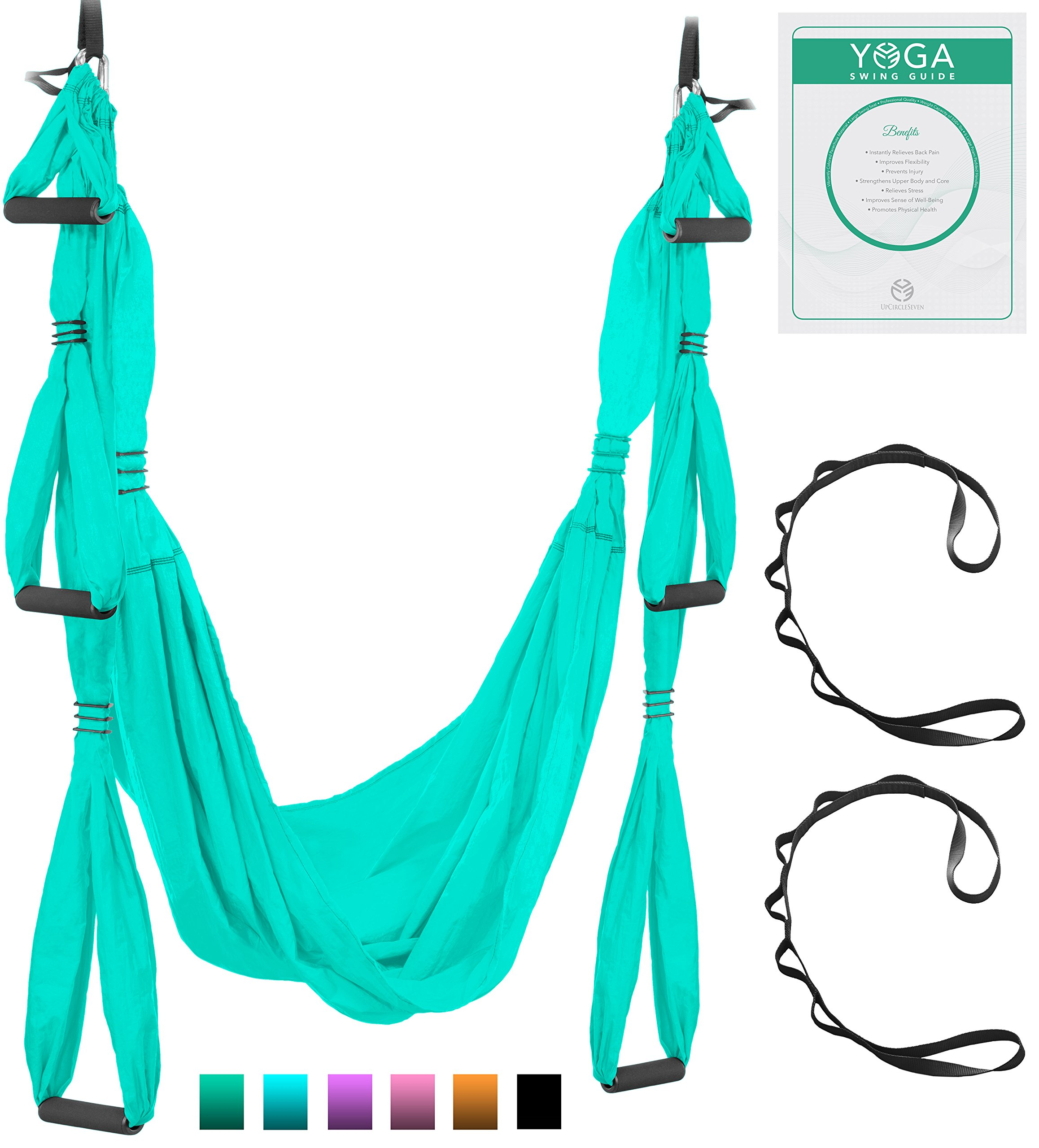Aerial Yoga Swing - Ultra Strong Antigravity Yoga Hammock/Trapeze/Sling for Air Yoga Inversion Exercises - 2 Extensions Straps Included (Turquoise) by UpCircleSeven (Image #1)