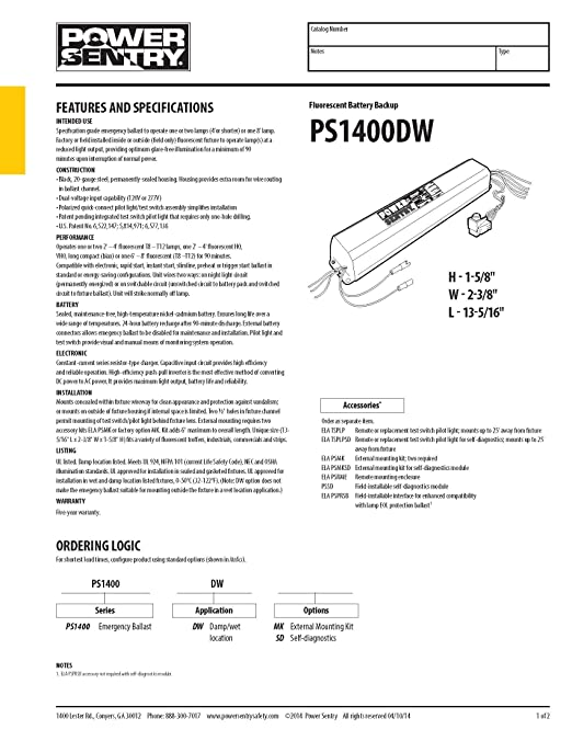 81spe%2BsDqmL._SX522_ lithonia lighting ps1400dw m8 power sentry 1400 lumen quick T8 Ballast Wiring Diagram at gsmx.co