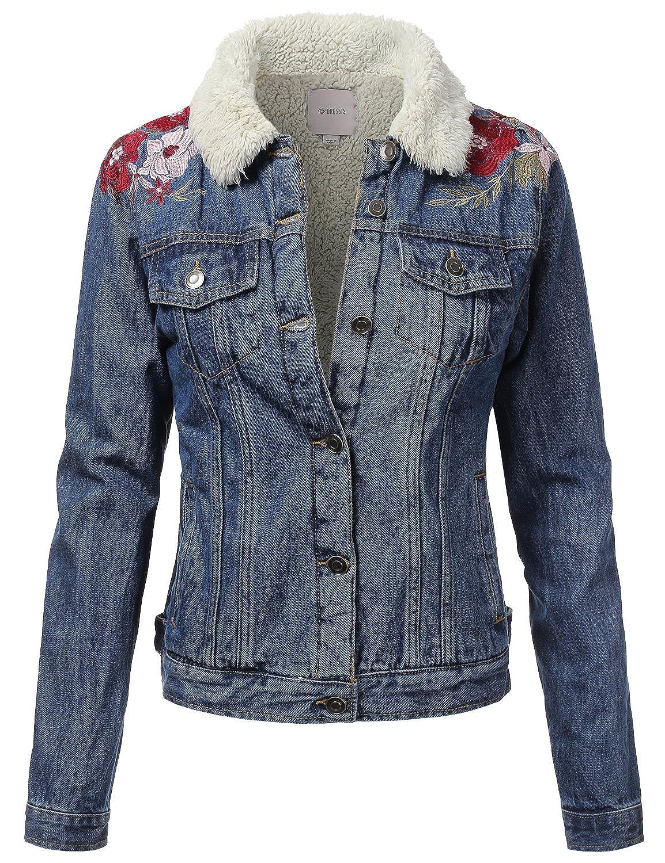 DRESSIS Womens Slim Fit Cropped Jean Denim Jacket
