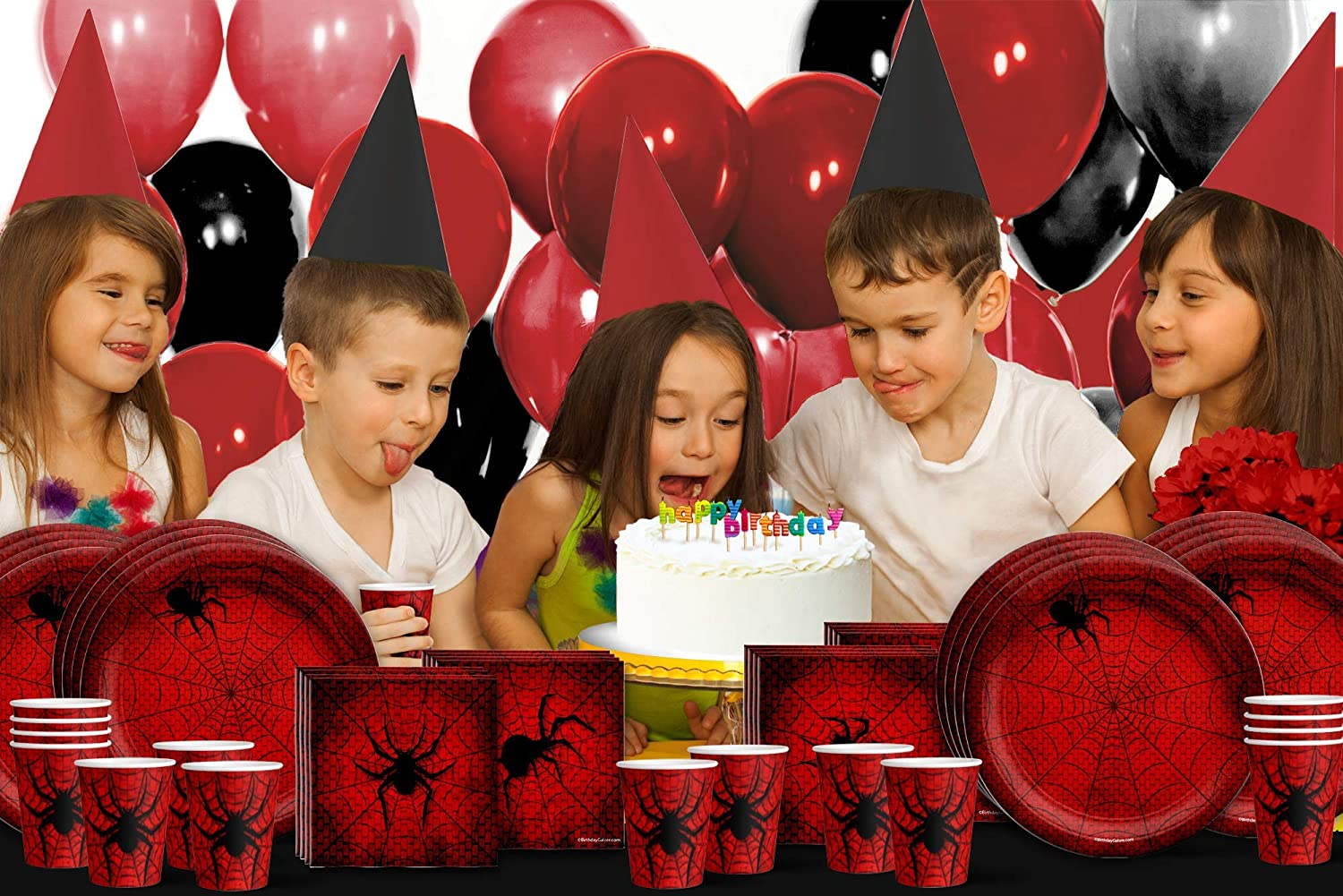 Spiderweb Birthday Party Supplies Set Plates Napkins Cups Tableware Kit for 16