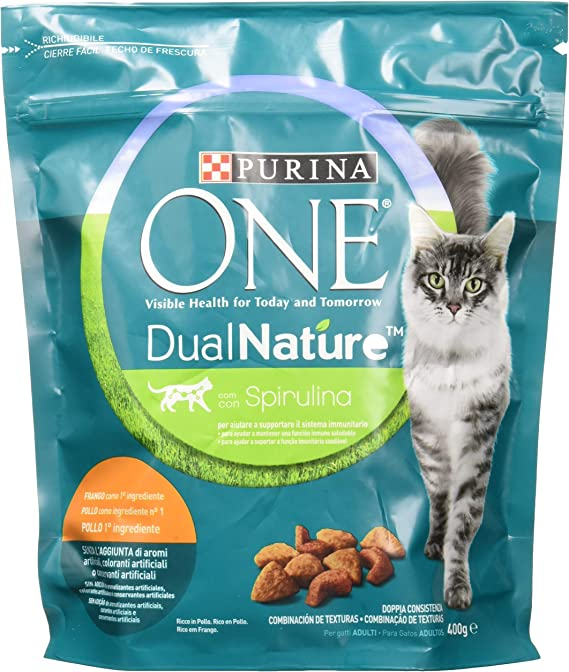 PURINA ONE dualnature pienso para Gatos Adultos Rico de Pollo y con espirulina Natural 8 Piezas: Amazon.es: Productos para mascotas