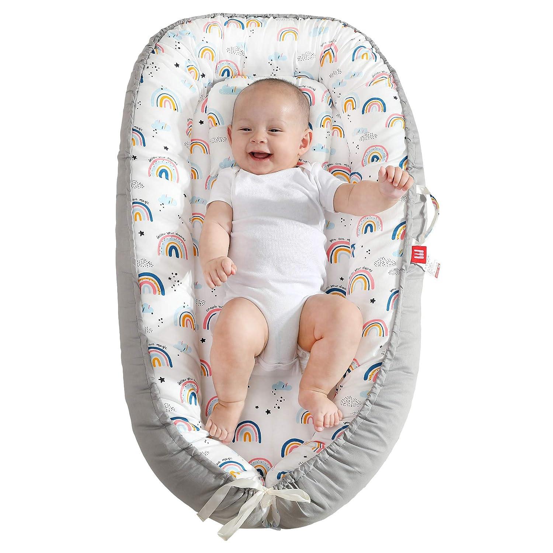 XMWEALTHY Baby Nest Pillow Soft Infant Lounger Pillow Newborn Portable Bed Co Sleeper for Baby Girls Crib & Bassinet Mattress, Rainbows: Baby