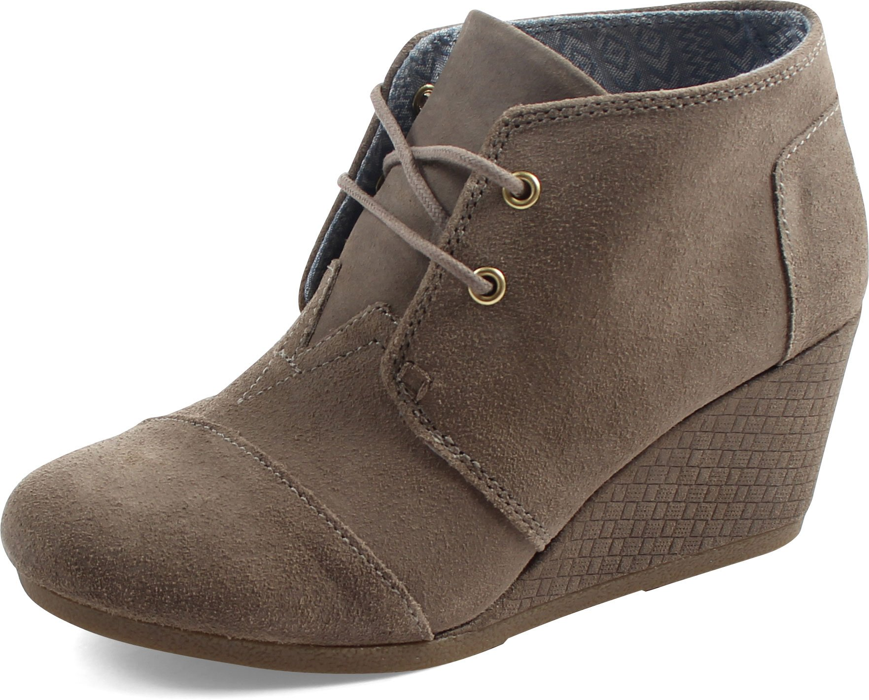 Toms Women's Desert Wedge Casual Shoe (7.5 B(M) US, Desert Taupe Distressed Suede with Embossed Wedge)