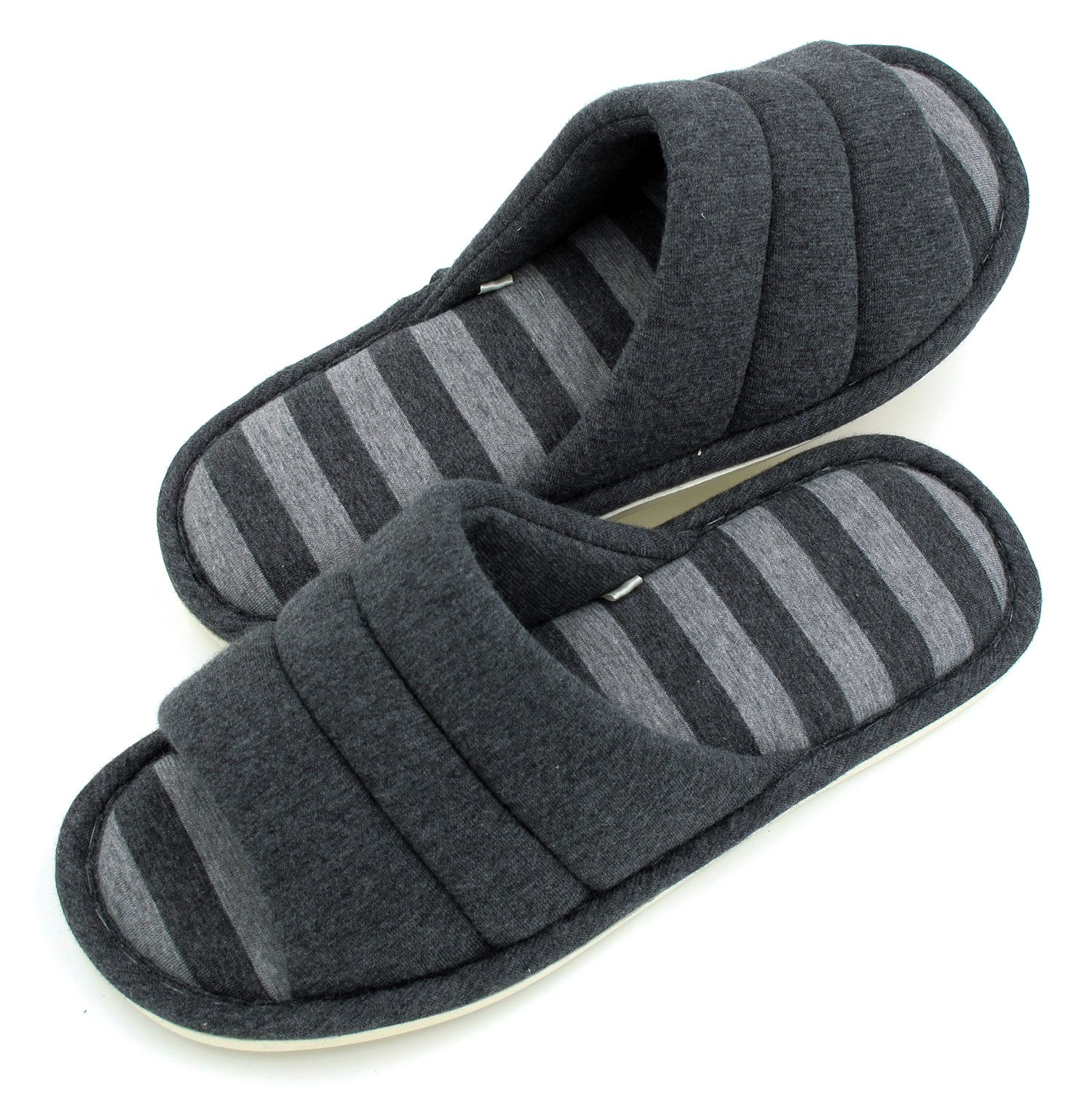 Sunshine Code Unisex Memory Foam Cotton Washable Stripe Slippers for Travel House Hotel Spa Bedroom, 28CM, Charcoal Grey