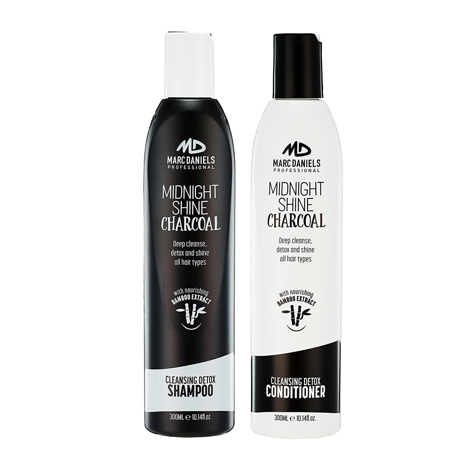 Charcoal Clarifying Shampoo & Conditioner Set Sulfate Free with Bamboo Extract Detoxifying for All Hair Types - Color Treated, Oily, Frizzy – for Women & Men by MARC DANIELS Professional