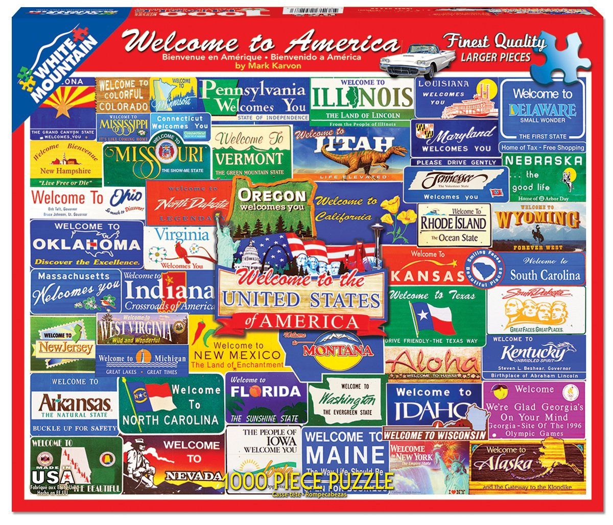 Amazon.com: White Mountain Puzzles Welcome to America - 1000 Piece ...