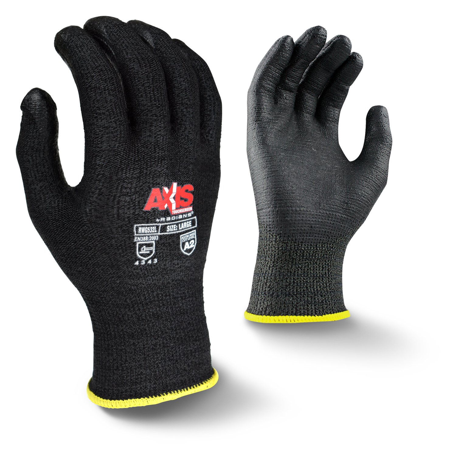 Radians RWG532XXL Axis Touchscreen Cut Protection Level 3 Work Glove, XX-Large