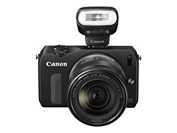 Canon EOS M Compact System Camera - Black (18MP, Includes Speedlite 90EX  and EF-M 18-55mm f/3 5-5 6 IS STM) 3 0 inch Touchscreen