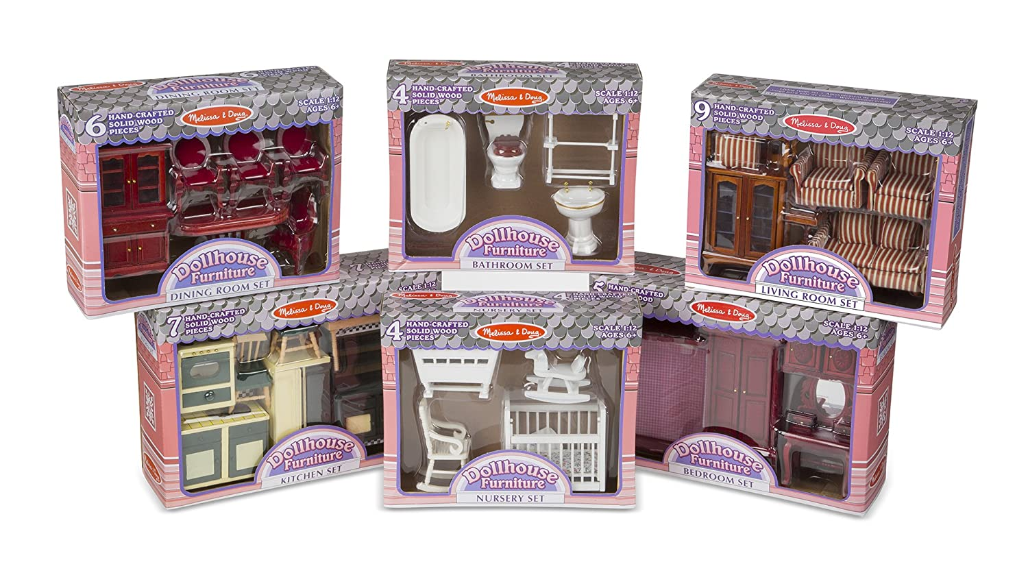 "Melissa & Doug Classic Victorian Wooden and Upholstered Dollhouse Furniture, 1:12 Scale, Lovely Victorian Style, 35 Pieces, 20"" H x 14"" W x 12"" L"