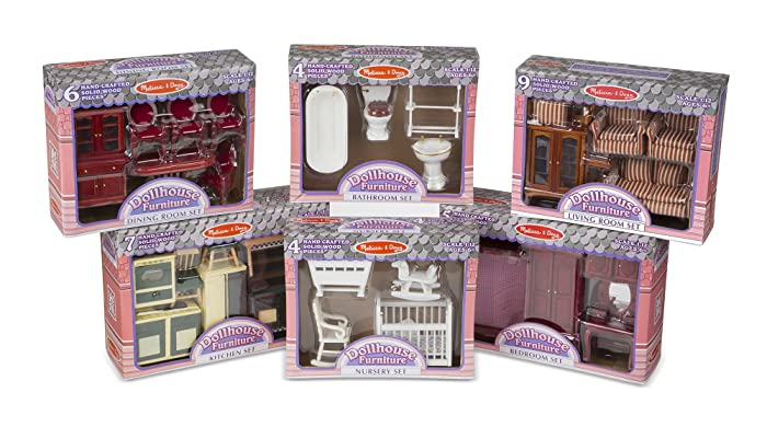 """Melissa & Doug Classic Victorian Wooden and Upholstered Dollhouse Furniture, 1:12 Scale, Lovely Victorian Style, 35 Pieces, 20"""" H x 14"""" W x 12"""" L"""