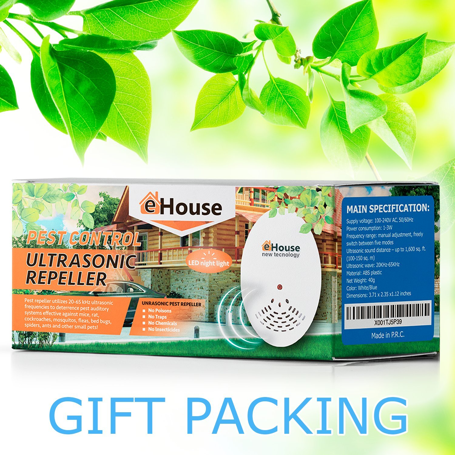 EHOUSE Electronic Indoor Plug-in - Get rid of - Rodents, Mice, Rats,  Squirrels, Bats, Insects, Bed Bugs, Ants, Fleas, Mosquitos, Fly, Spiders,